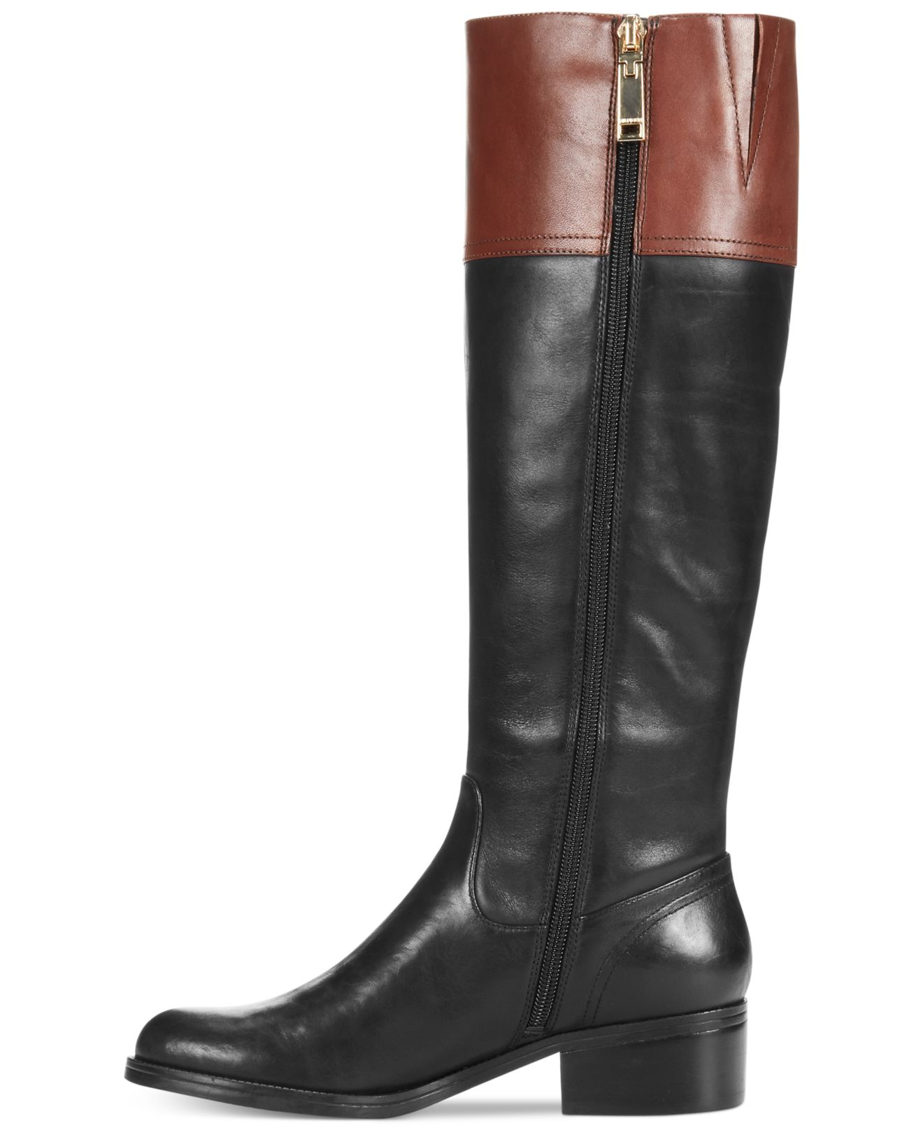 tommy hilfiger women 39 s gibsy wide calf riding boots in black lyst. Black Bedroom Furniture Sets. Home Design Ideas