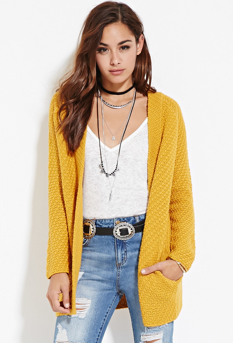 ddc9b24904c9 Forever 21 Longline Open-front Cardigan in Yellow - Lyst