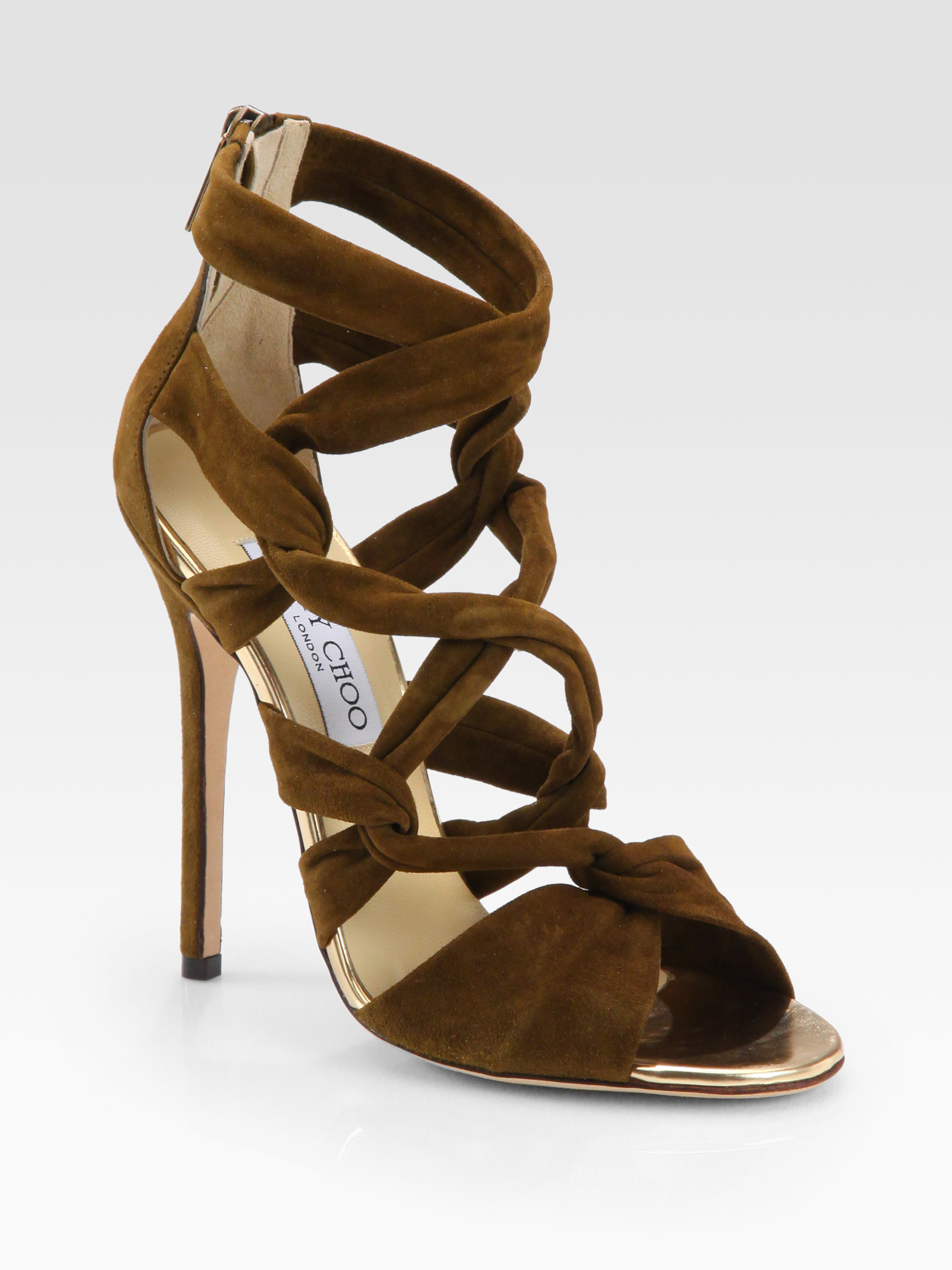 518f880687a Lyst - Jimmy Choo Kemble Knotted Suede Sandals in Brown