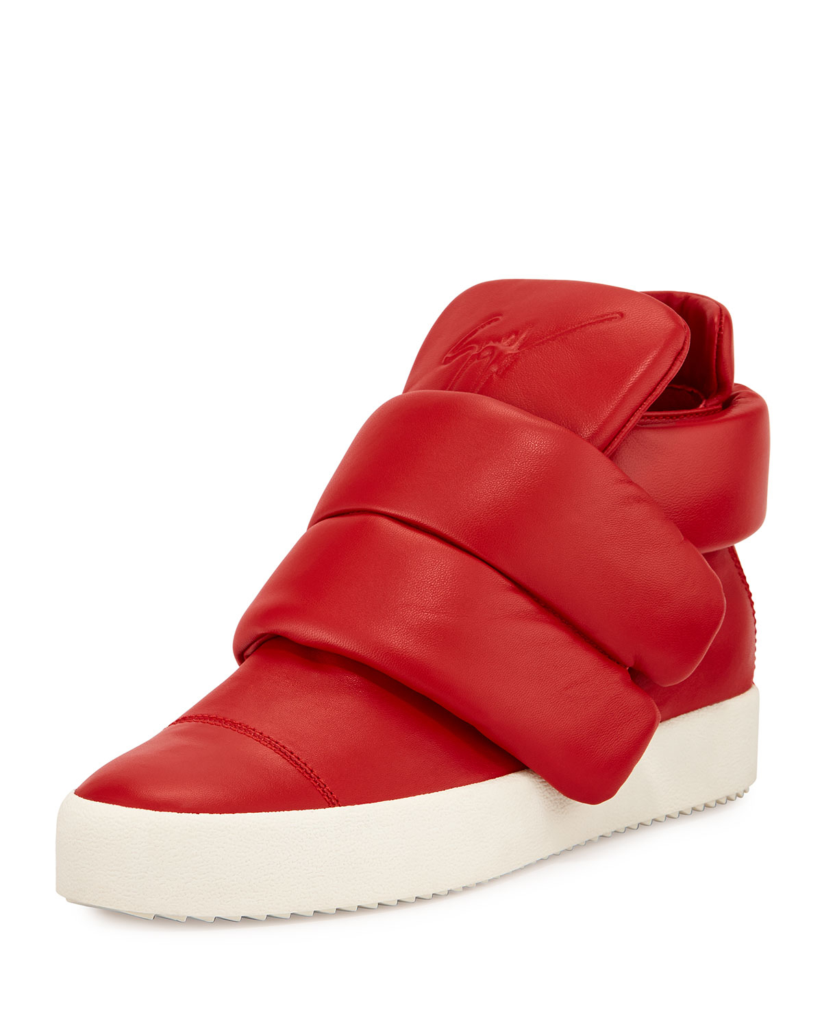 Giuseppe Zanotti Cesar Leather High Top Sneakers In Red