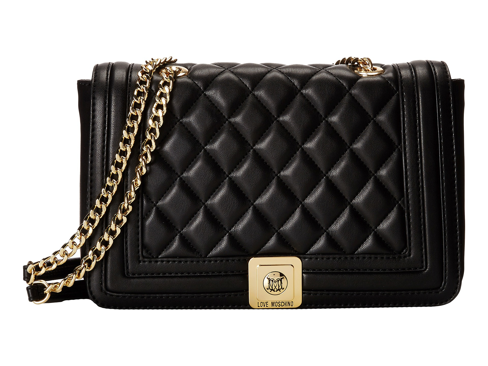 lyst love moschino quilted flap vers crossbody bag in black. Black Bedroom Furniture Sets. Home Design Ideas