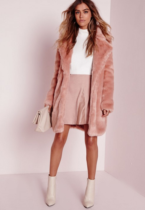 Missguided Longline Faux Fur Coat Pink In Pink Lyst