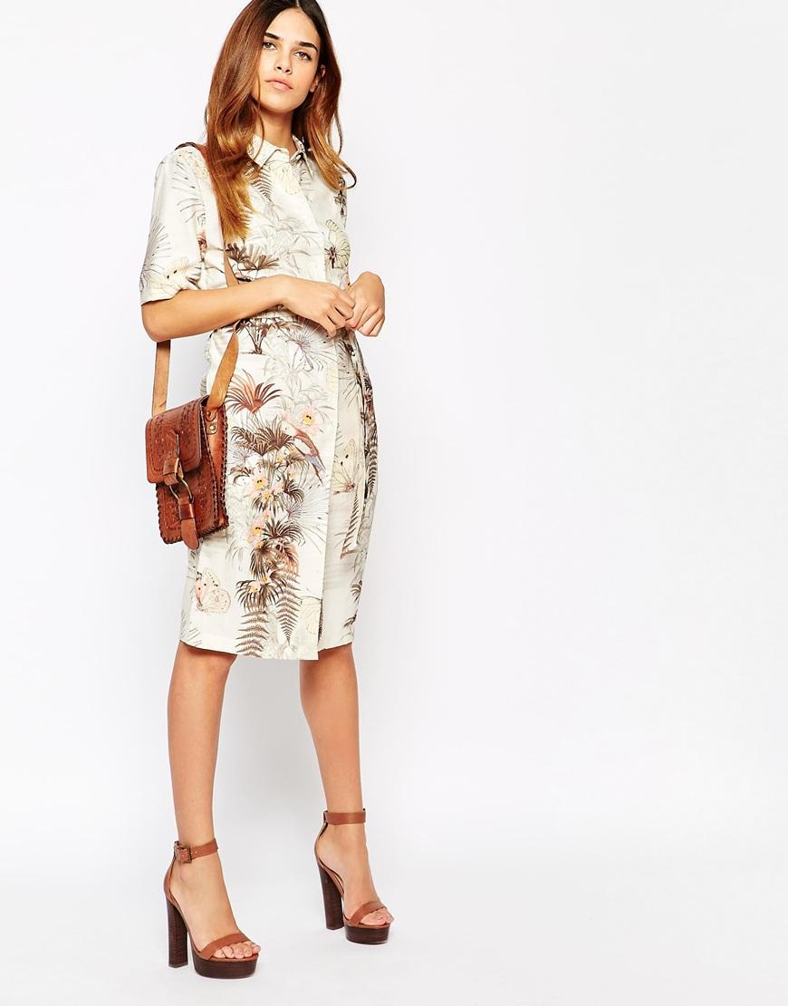 a10860bfbb2 Warehouse Tropical Print Shirt Dress - Lyst