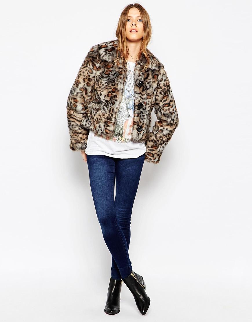 dce444a58444 Urbancode Short Faux Fur Jacket In Leopard Shadow - Lyst
