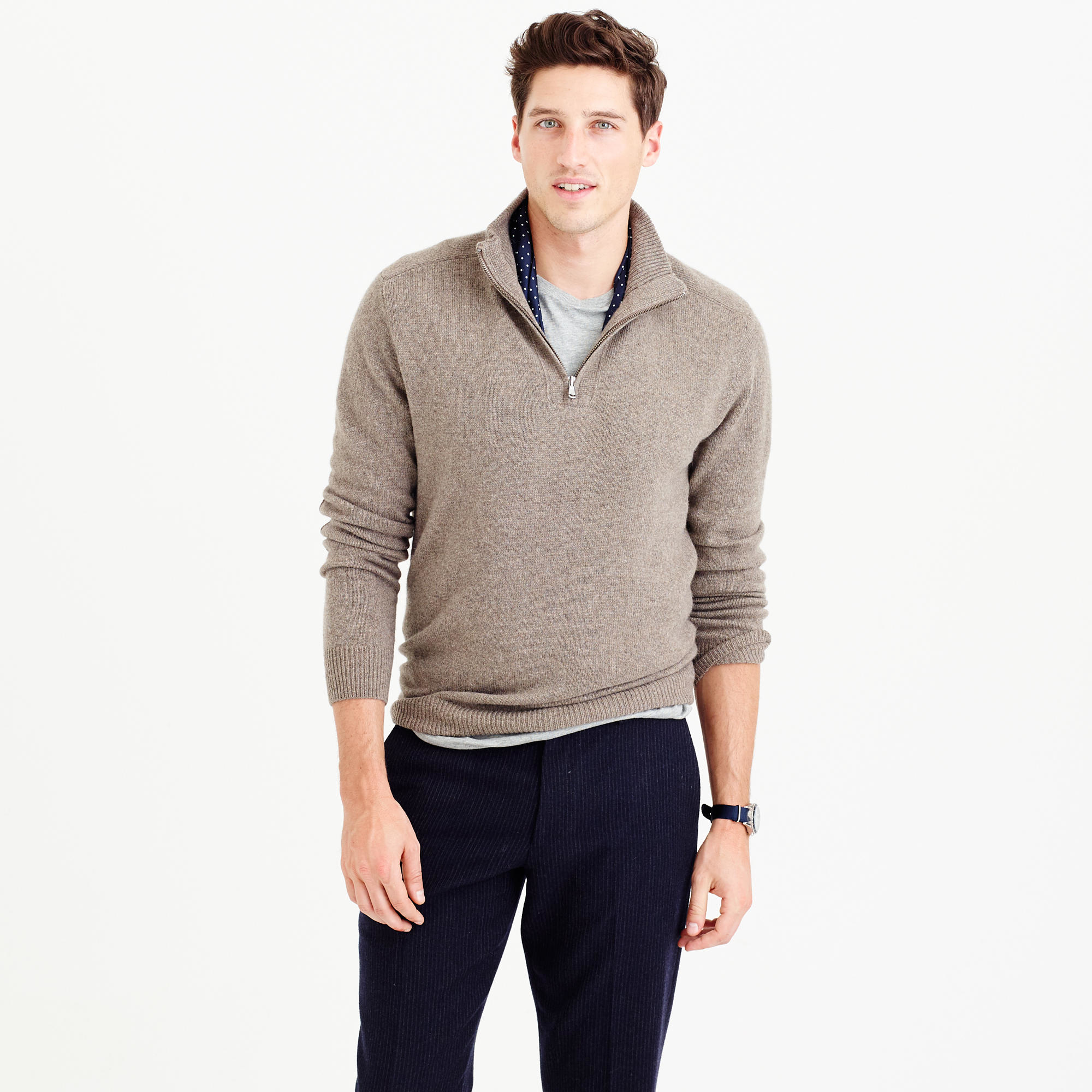 J.crew Softspun Half-zip Shoulder-patch Sweater for Men | Lyst