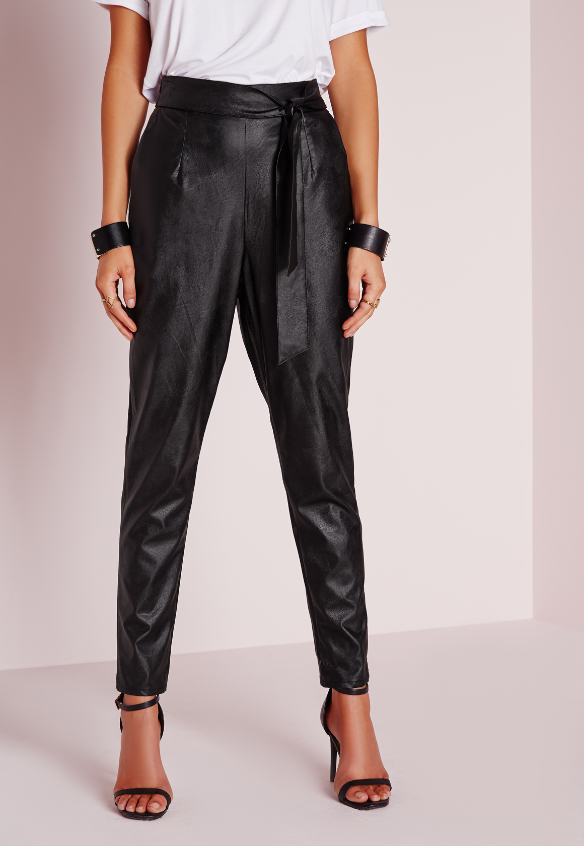 82a51d61b Lyst - Missguided Tie Waist Faux Leather Pegged Leg Trousers Black ...