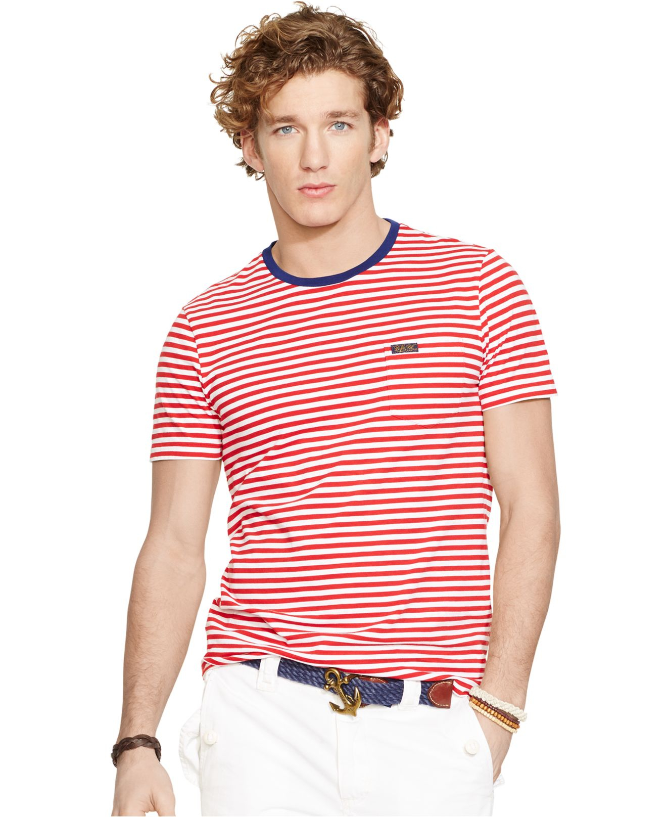 Polo ralph lauren striped pocket t shirt in red for men lyst for Polo t shirts with pocket online
