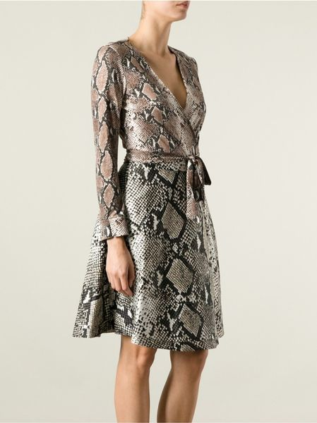 Dvf Amelia Python Print Dress Python Print Wrap Dress in