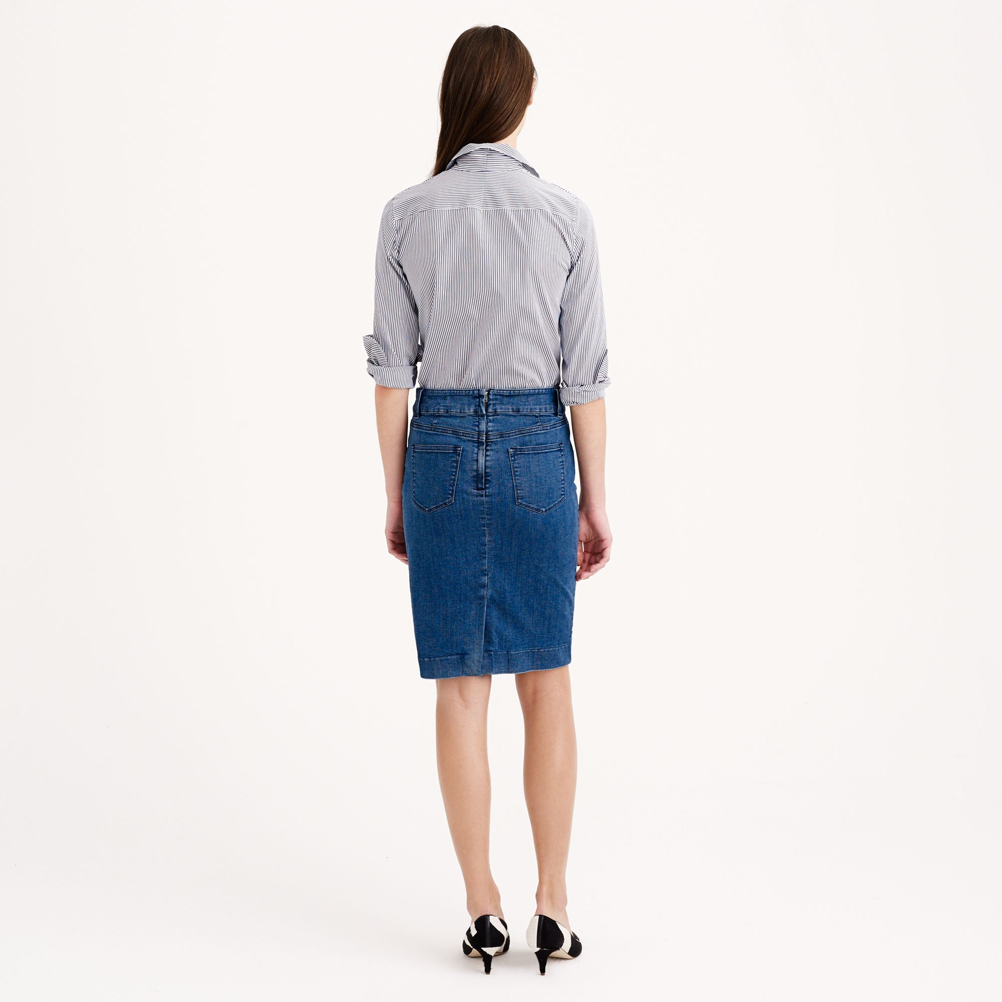 j crew quilted denim pencil skirt in blue lyst