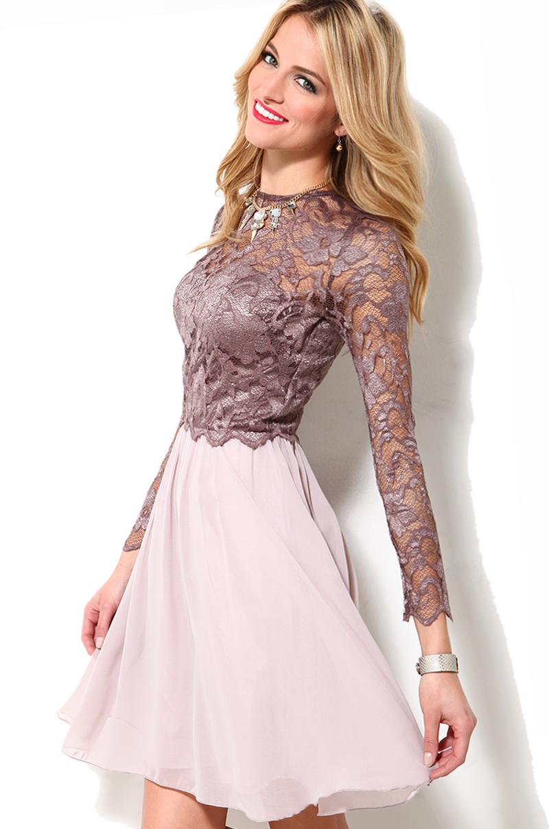 Long Sleeve Lace Bodice Dress