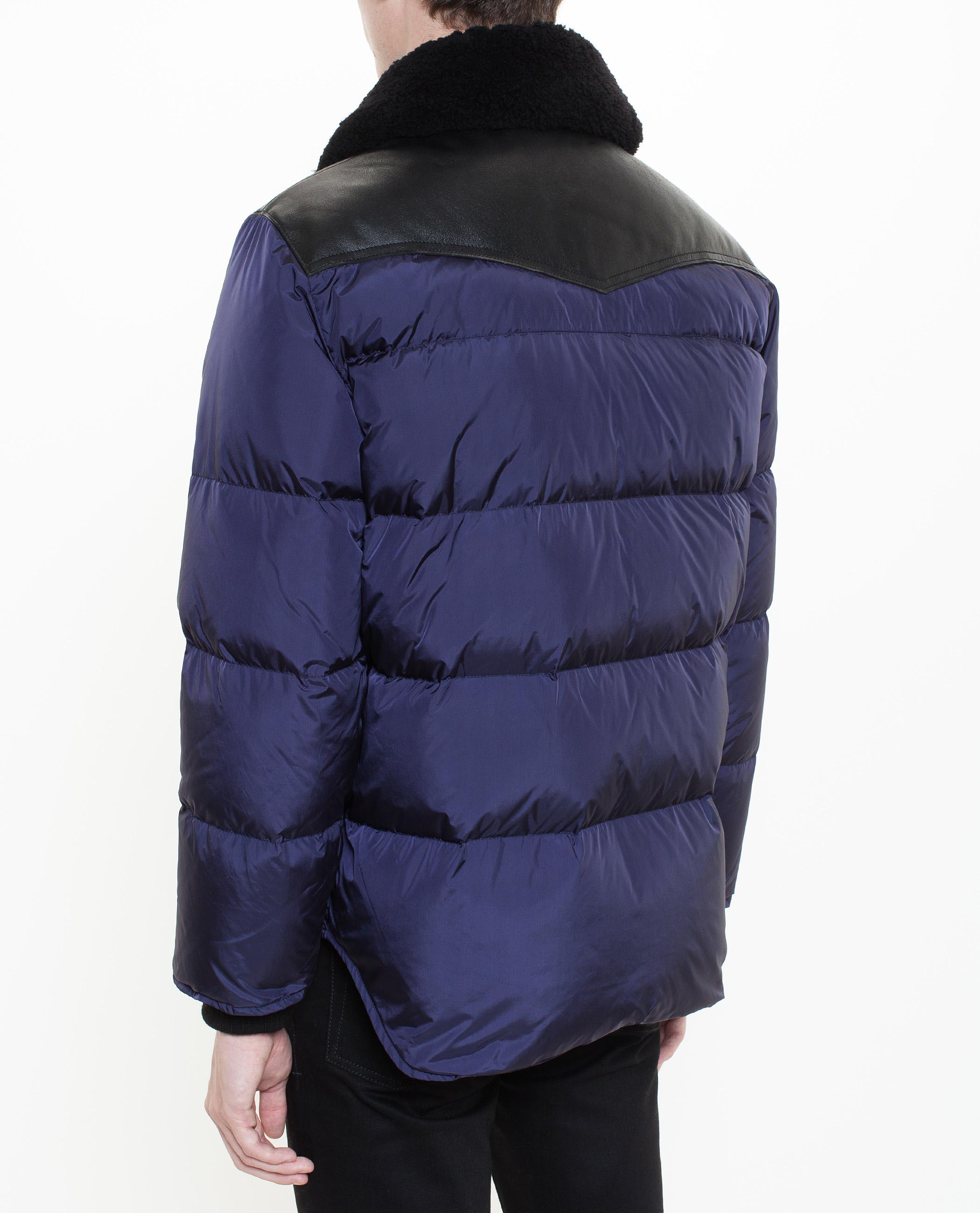 Lyst Dsquared 178 Lamb Fur Collar Puffa Jacket In Blue