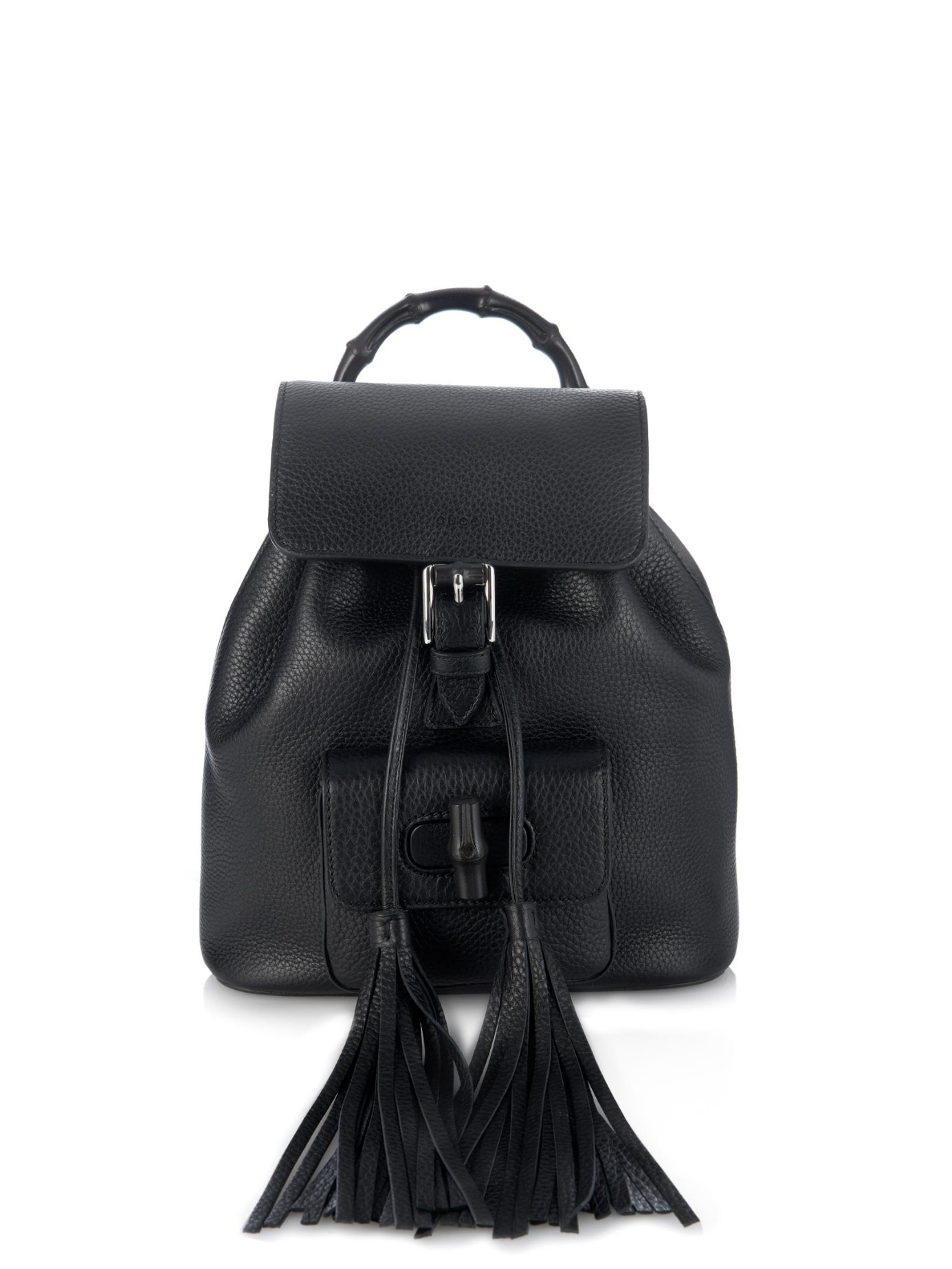 168a24aee467 Gucci Bamboo Mini Leather Backpack in Black - Lyst
