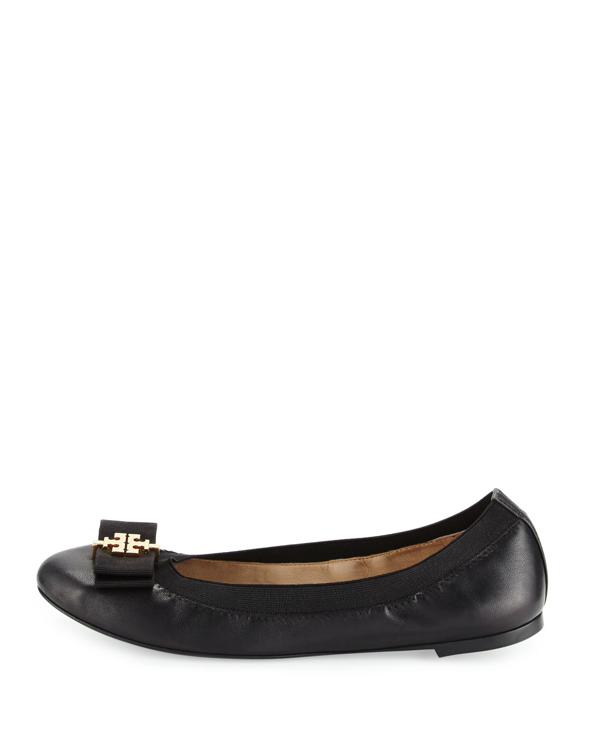 cde816a3558e92 Lyst - Tory Burch Sedgewick Leather Bow Flat in Black