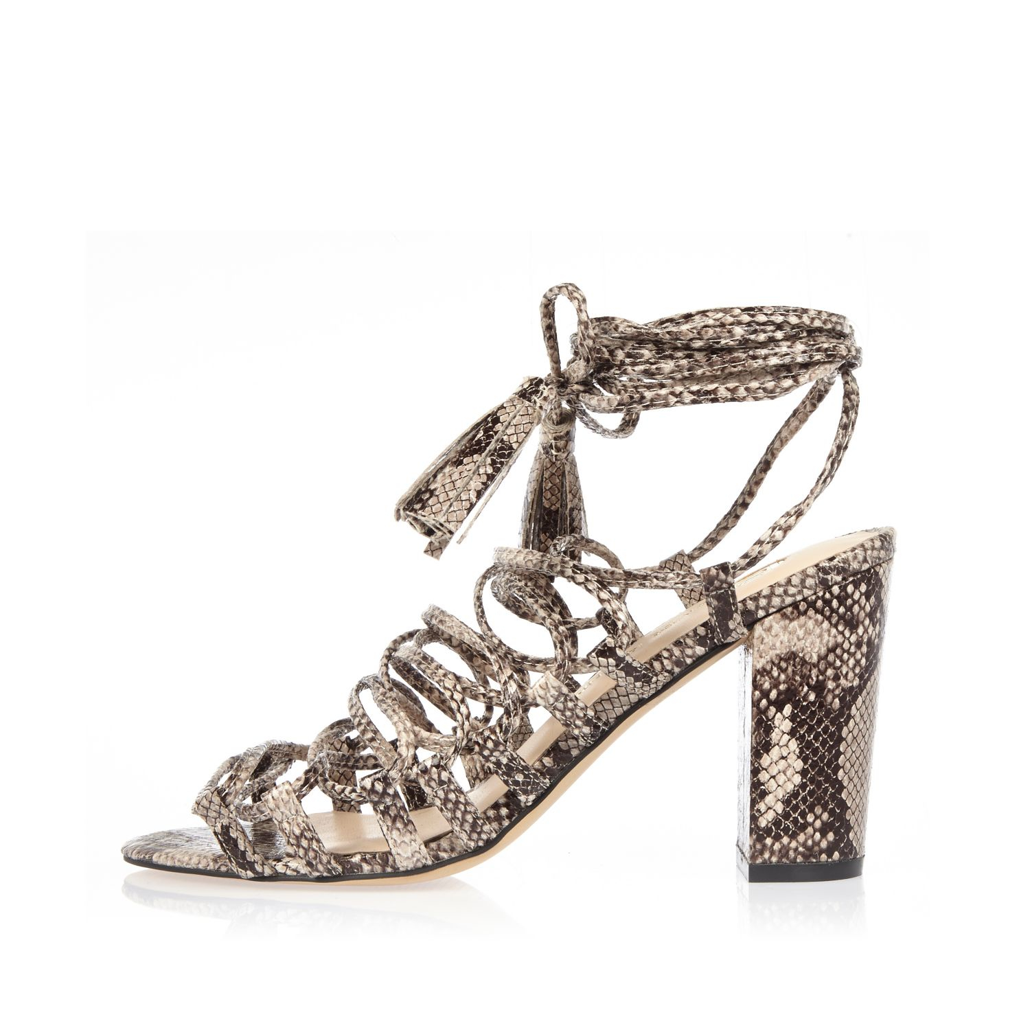 33acd0f07 Lyst - River Island Grey Snake Print Lace-up Block Heel Sandals in Gray