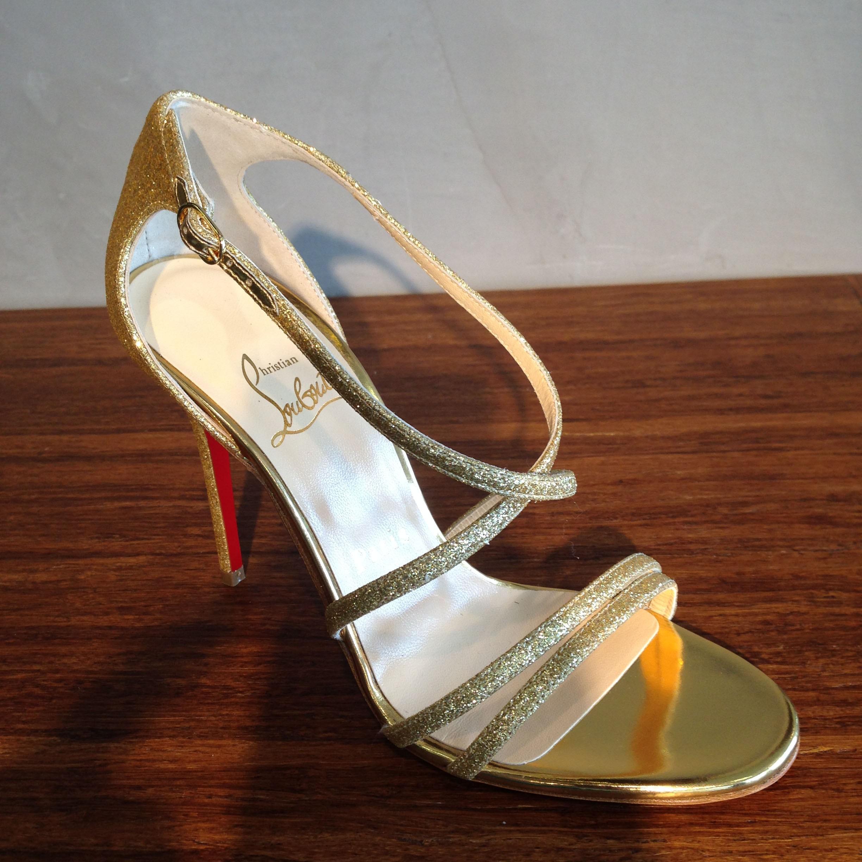 Christian louboutin Gwynitta Gold Glitter Sandal in Gold (Gold ...