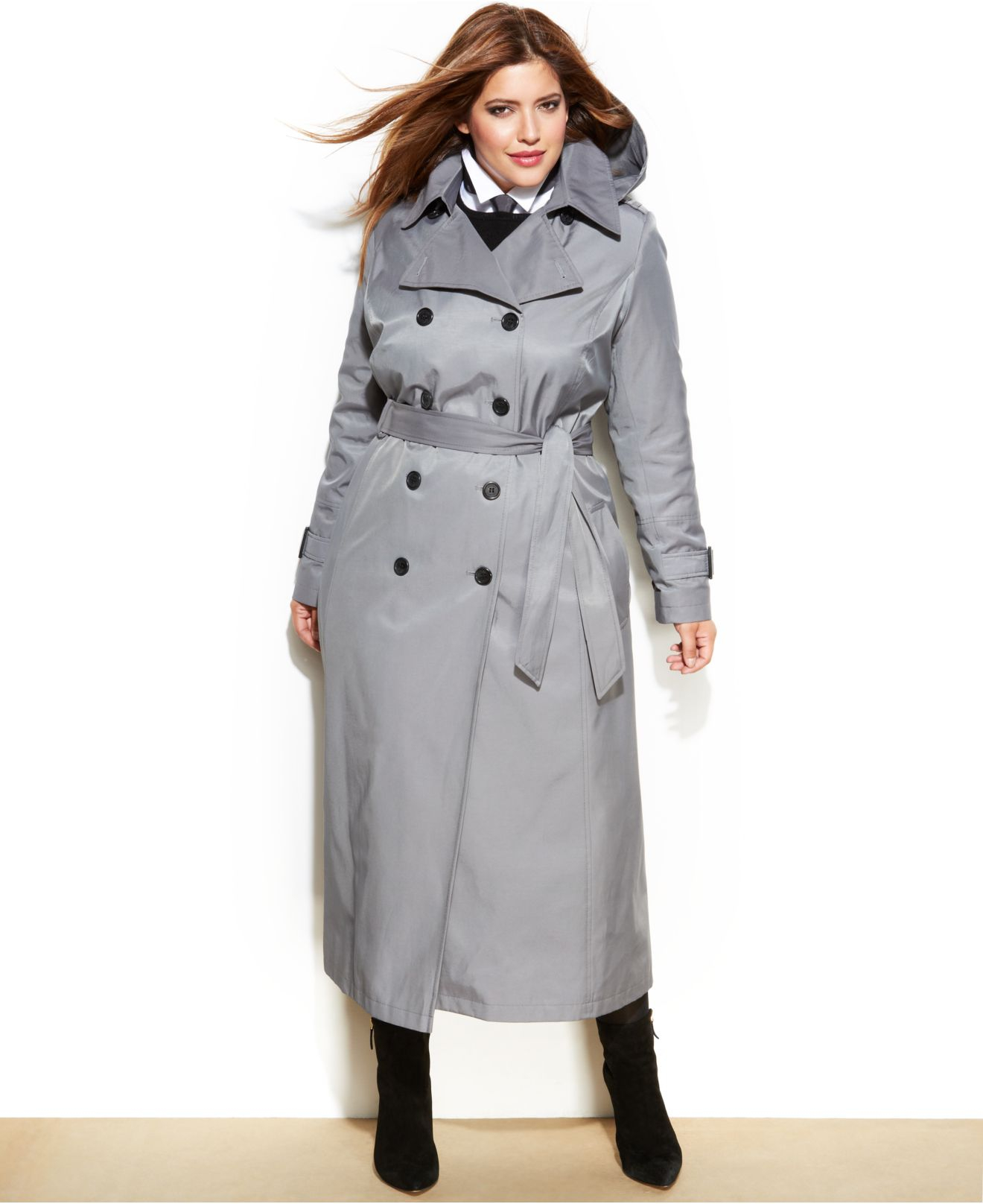 64c4d9fe540a1 Lyst - DKNY Plus Size Maxi Trench Coat in Gray