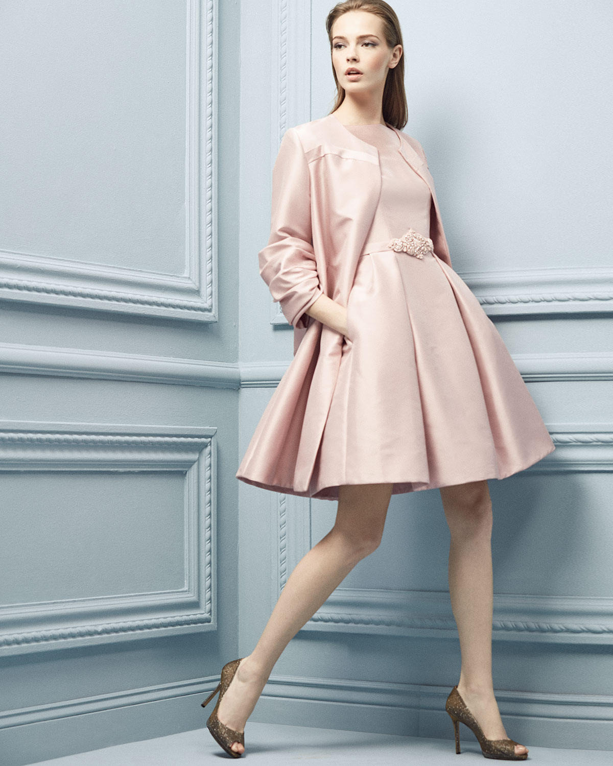 Theia Satin Coat & Party Dress in Pink | Lyst