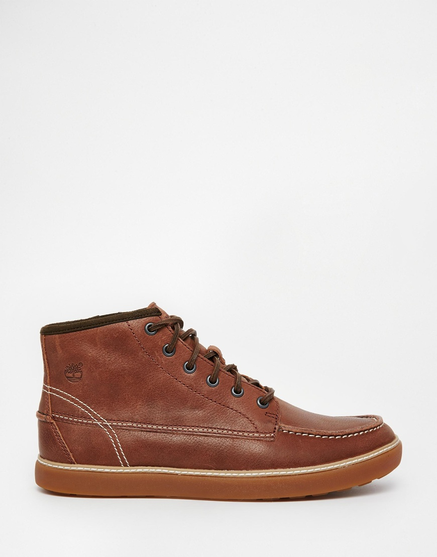 timberland hudston moc toe chukka boots in brown for