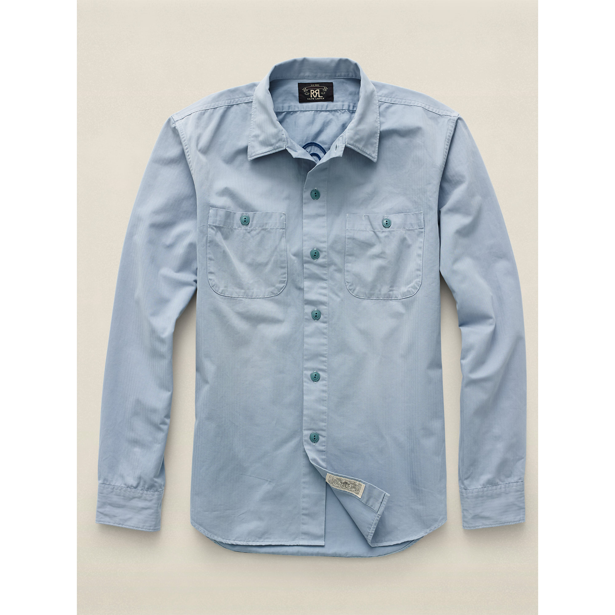 Lyst rrl cotton herringbone workshirt in blue for men for Blue cotton work shirts