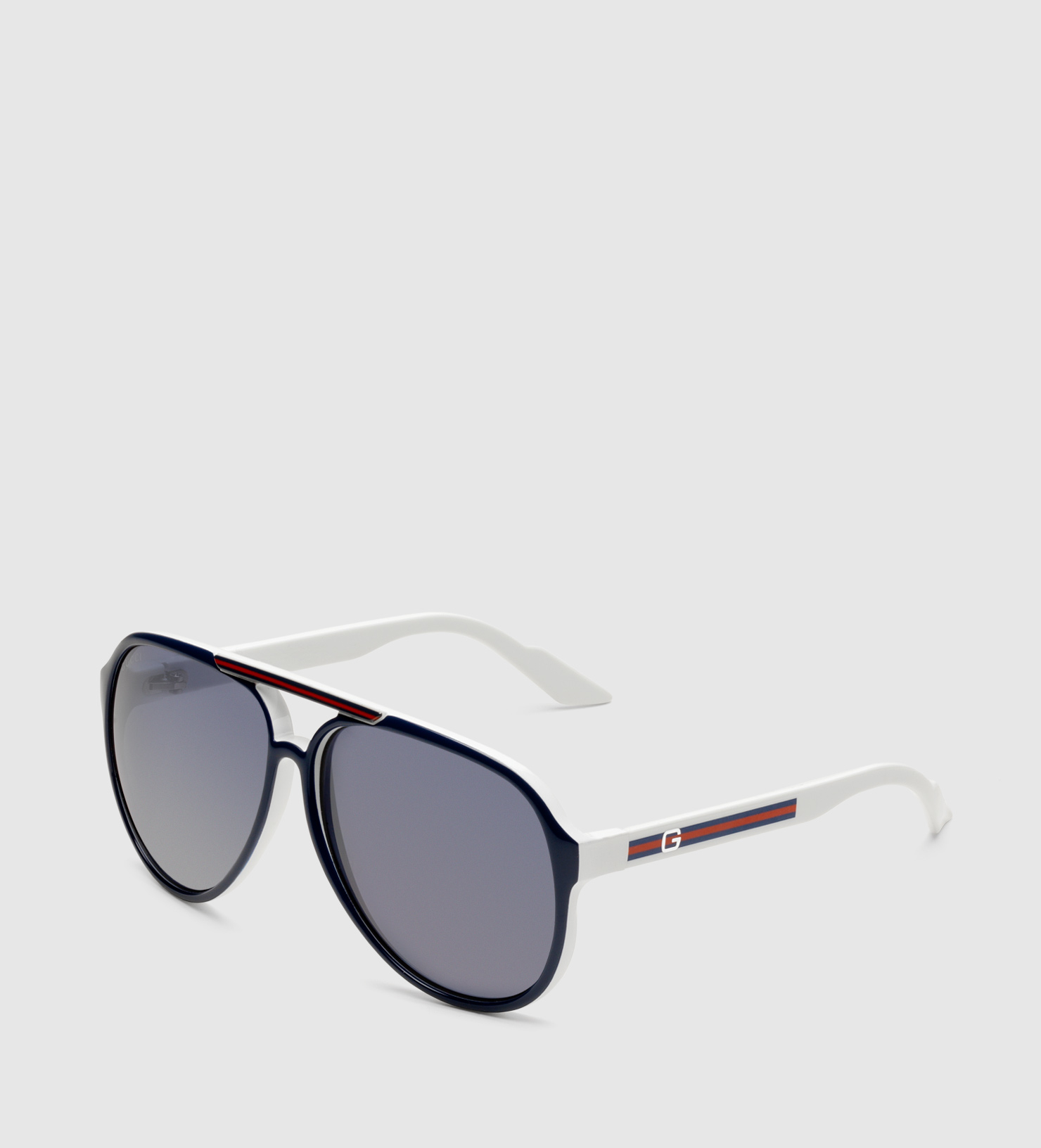 05b5a63dffd Lyst - Gucci Medium Aviator Sunglasses With G Detail And Signature ...