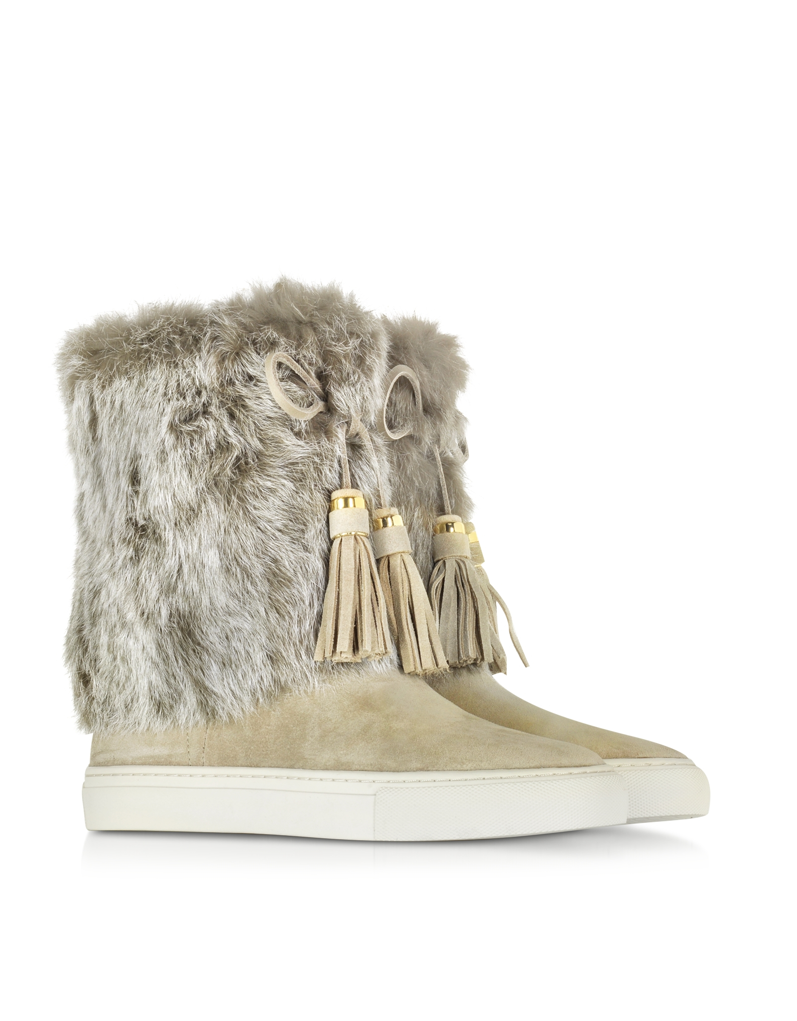 burch anjelica knot suede and rabbit fur boots