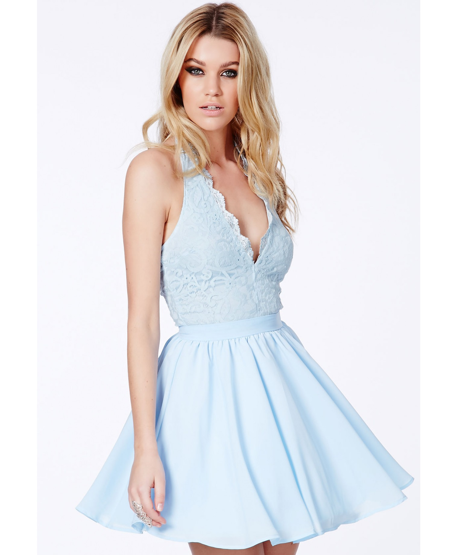 Lyst Missguided Nurit Halterneck Lace Detail Puffball Mini Dress