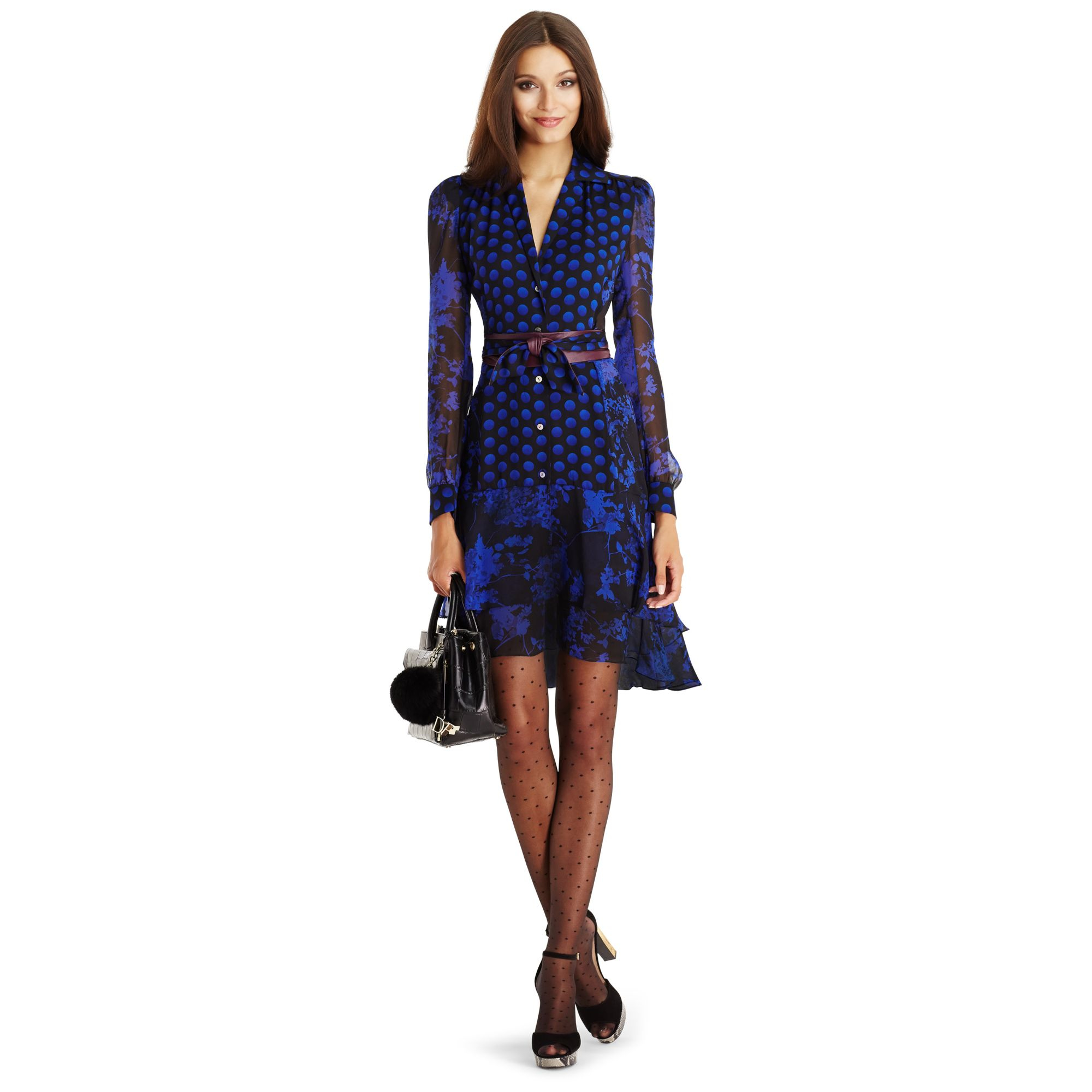 Diane von furstenberg dvf catherine chiffon shirt dress in for Diane von furstenberg clothes