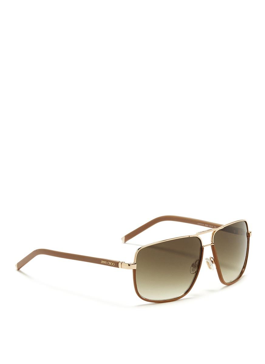 313cba1b2e2 Lyst - Jimmy Choo  Carry  Leather Trim Wire Rim Sunglasses in Brown
