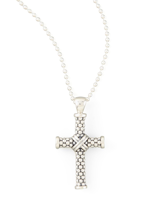 Lagos Signature Caviar Beaded Cross Pendant Necklace 2RG7vSc4Vd