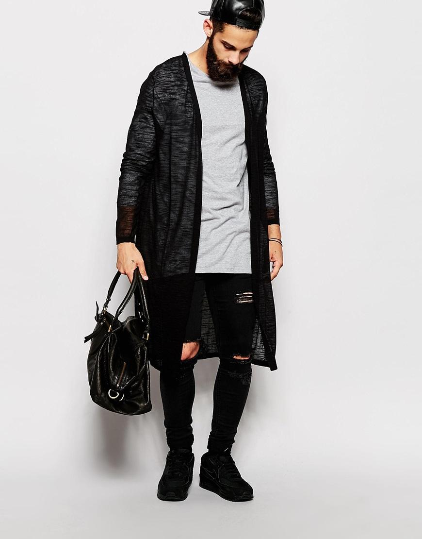 Asos Longline Cardigan In Sheer Knit in Black for Men | Lyst