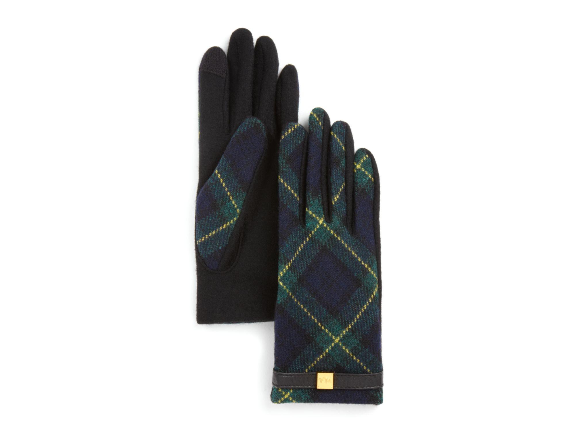 Lyst Pink Pony Lauren Tartan Tech Gloves In Green