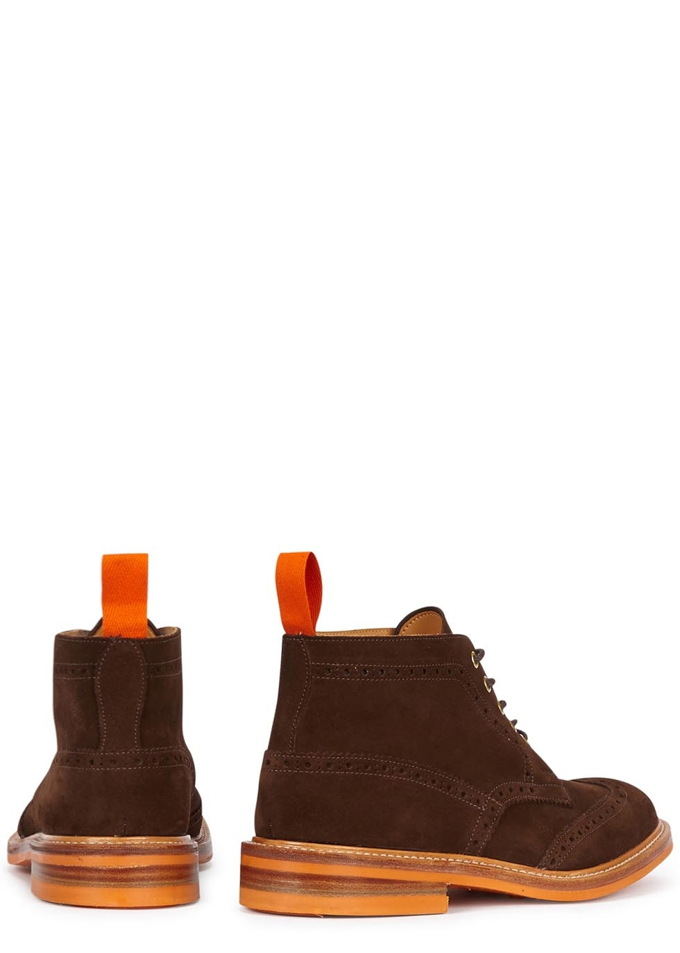tricker s chocolate brown suede brogue boots in brown for