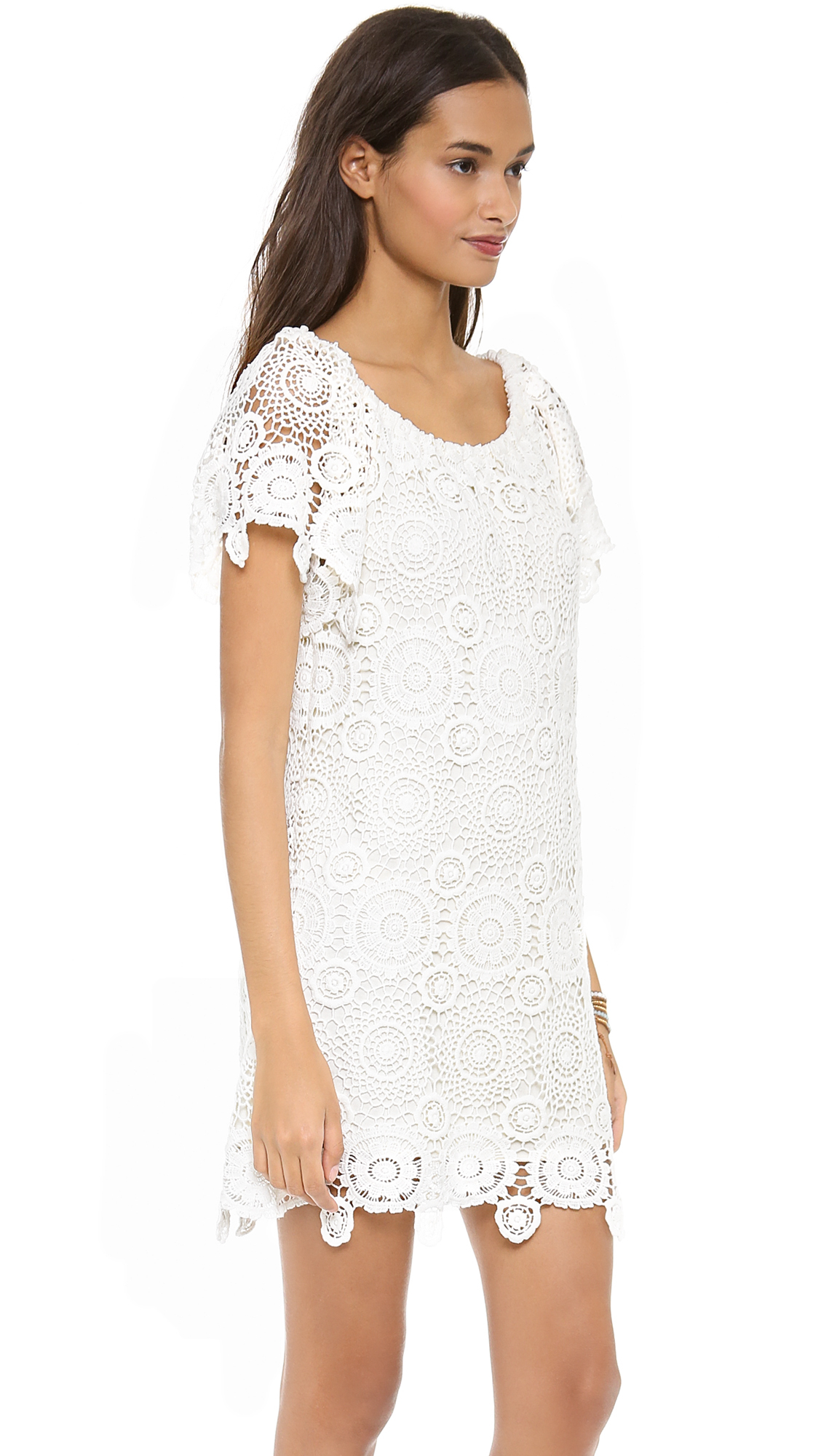 a6c03f469a0 Nightcap Carmen Crochet Dress Natural in White - Lyst