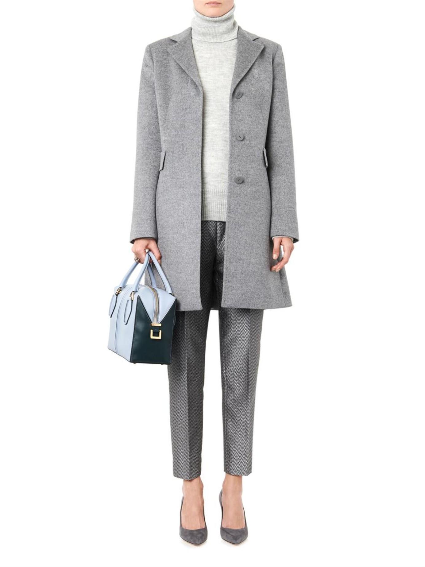Lyst Max Mara Studio Ninetta Wool Coat In Gray