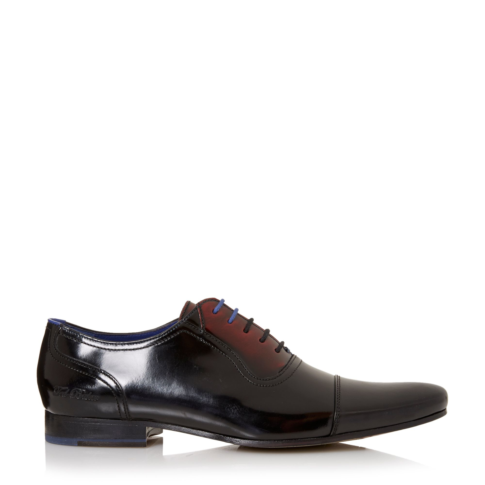 ted baker reidar two tone leather oxford shoes in black