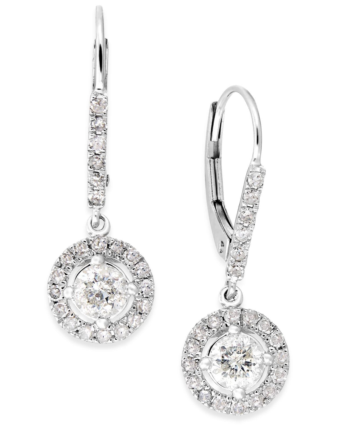 macy 39 s diamond dangle drop earrings in 14k white gold 1