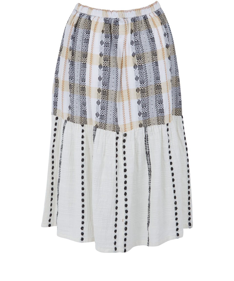 ace jig ivory tiered pattern cotton midi skirt in gray