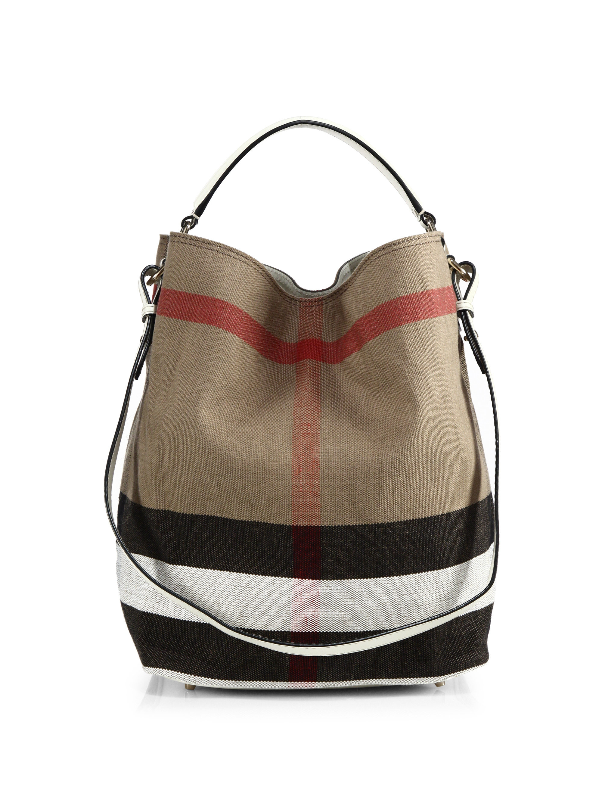 2d7f49262814 Lyst burberry ashby medium house check canvas shoulder bag in natural jpg  2000x2667 Burberry backpack purse