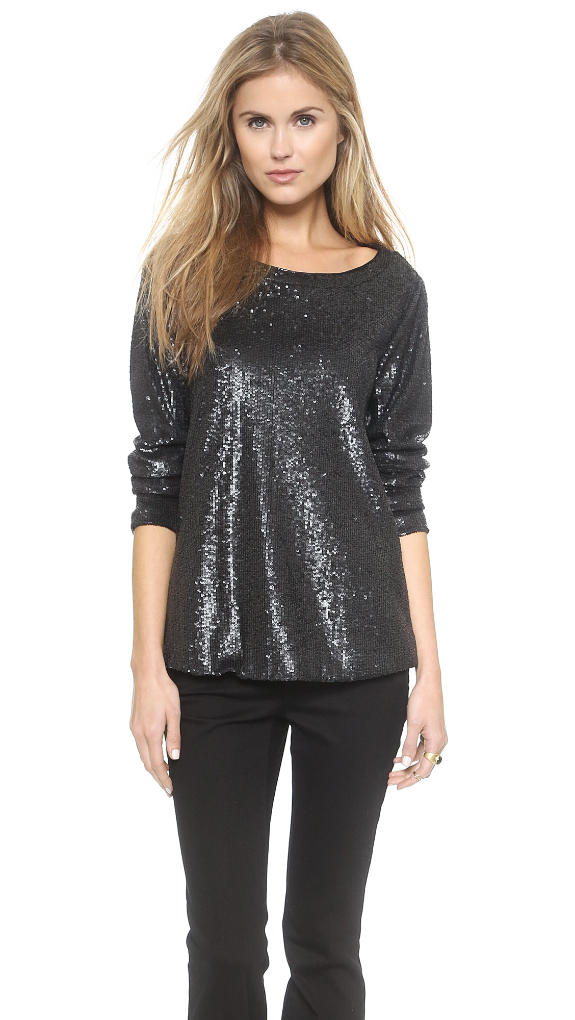 Sequin Tops. invalid category id. Sequin Tops. Product - DYMADE Women's Sexy Off Shoulder Bandage Lace Long Sleeve Shirt Blouse Top Purple. Product Image. Price $ 9. Product - Anna-Kaci S/M Fit Black Tiger in the Galaxy Print Dolman Sleeve Oversize Top.