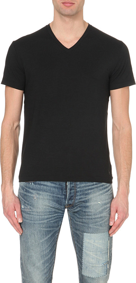 Polo ralph lauren luxury modal t shirt in black for men lyst for Modal t shirts mens