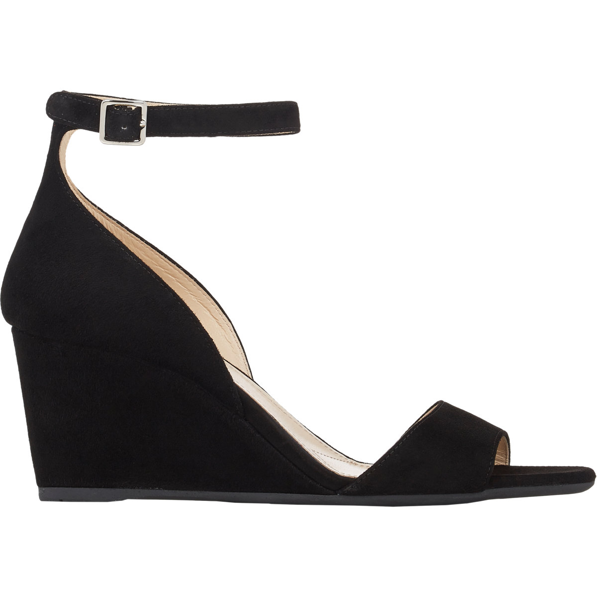 8eae08e477a Lyst - Prada Suede Ankle-strap Wedge Sandals in Black