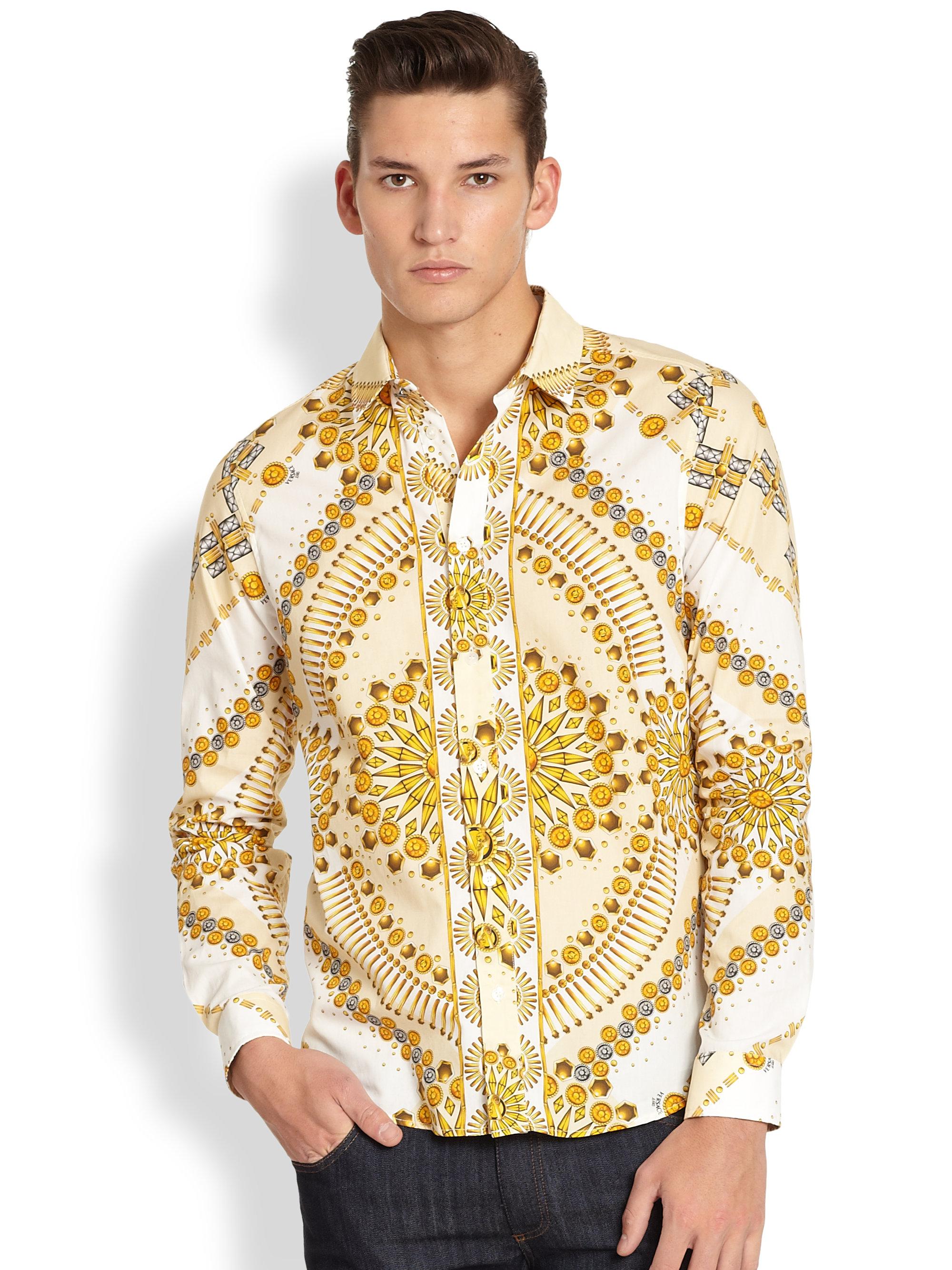 71b53d8f138 Lyst - Versace Jeans Gold Print Sportshirt in Metallic for Men