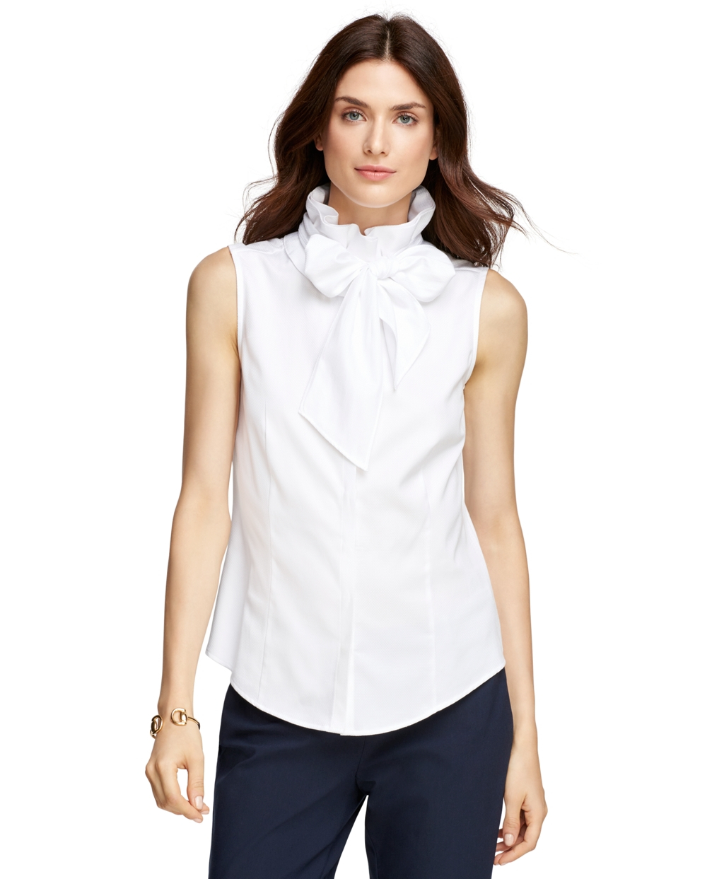 Lyst brooks brothers sleeveless dress shirt in white for White dress workout shirt