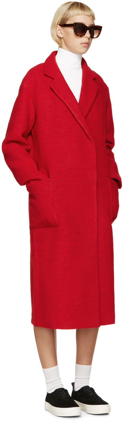Edit Red Oversized Boiled Wool Coat in Red | Lyst