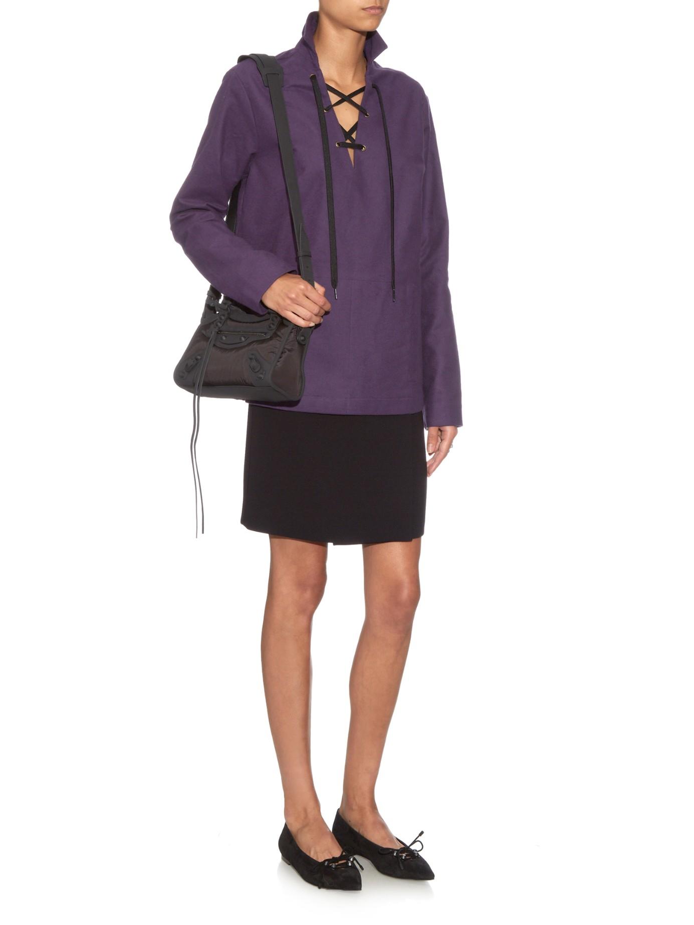 Balenciaga Classic Mini City Nylon Cross Body Bag In Black