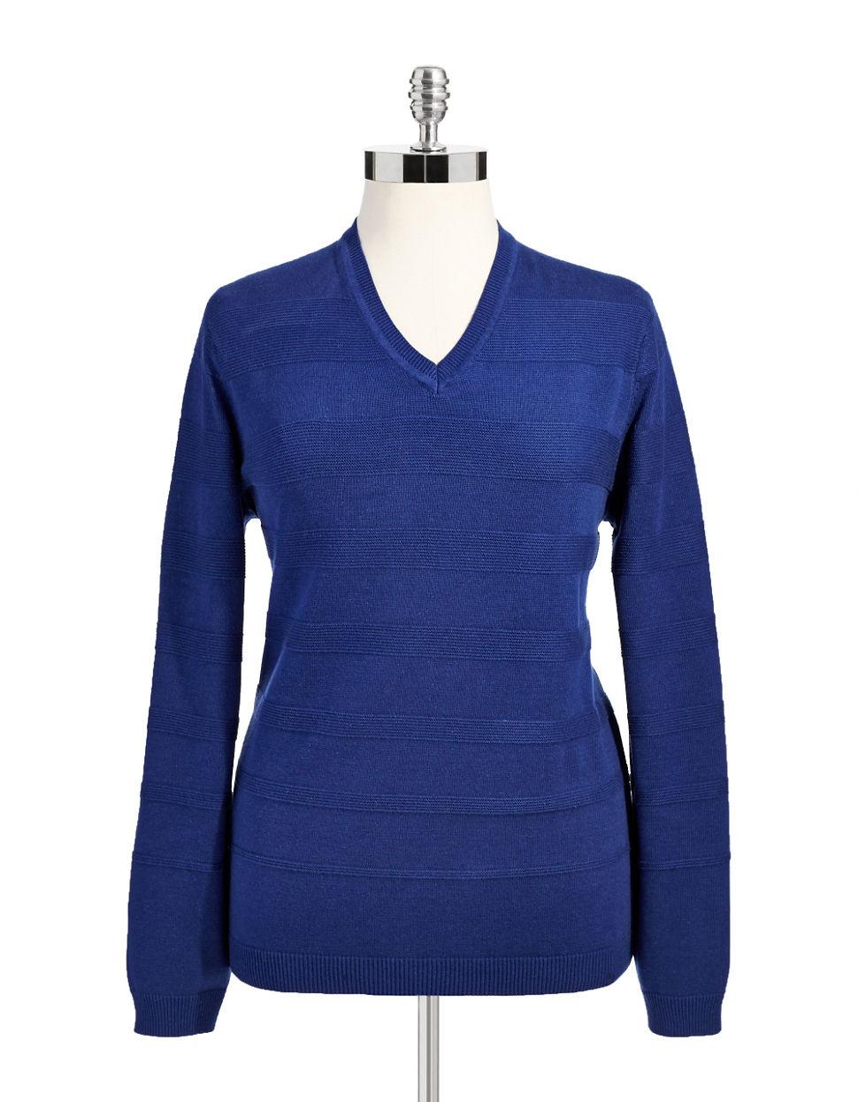 calvin klein striped v neck sweater in blue lyst. Black Bedroom Furniture Sets. Home Design Ideas