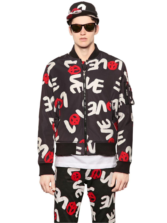 Love Moschino Love Printed Padded Nylon Bomber Jacket In