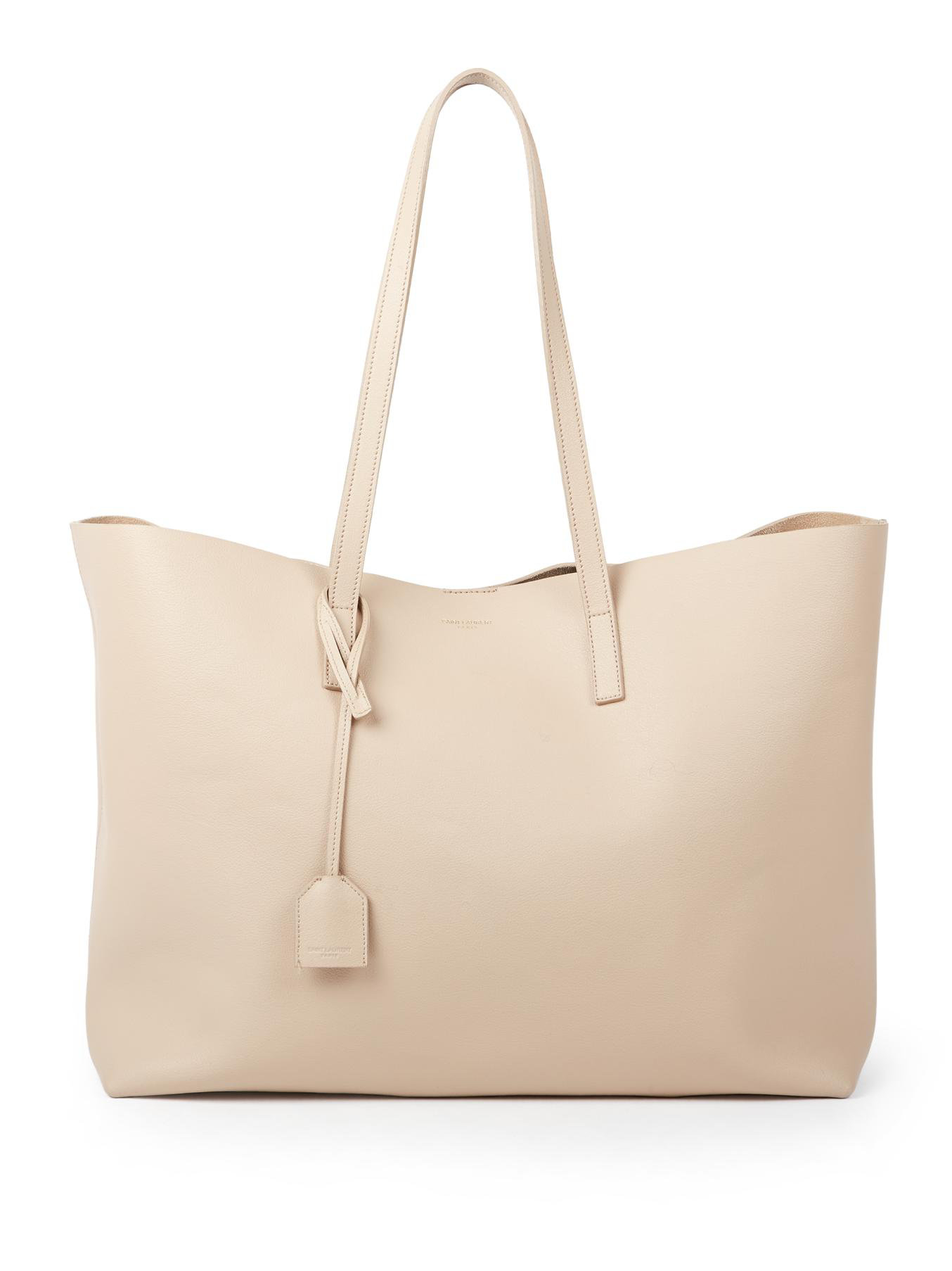Saint laurent Large Shopping Tote Smooth Leather in Beige | Lyst
