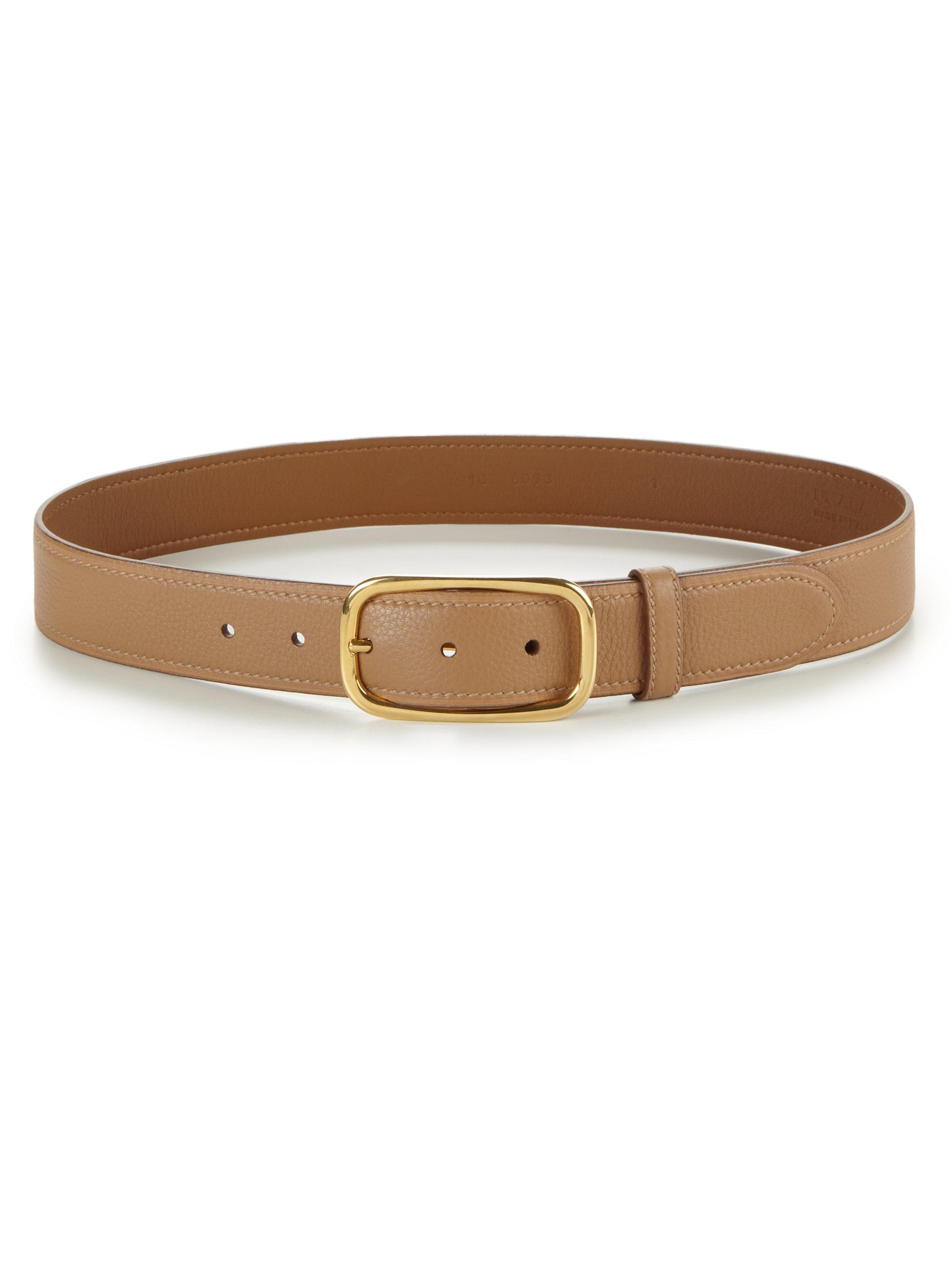 Prada Daino Pebbled Leather Belt In Beige