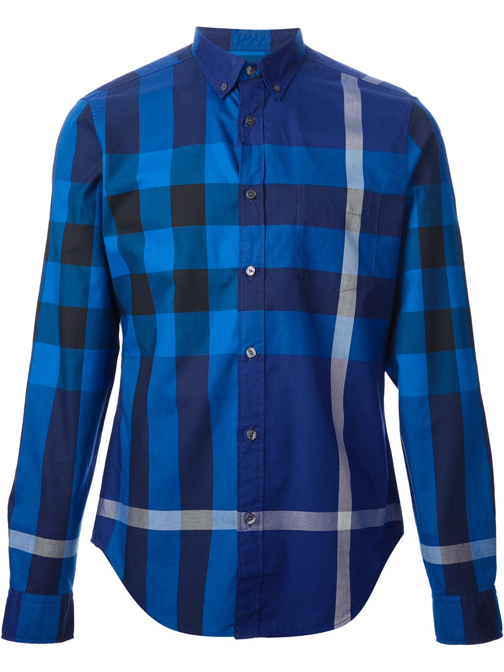Lyst burberry brit check shirt in blue for men for Burberry brit checked shirt